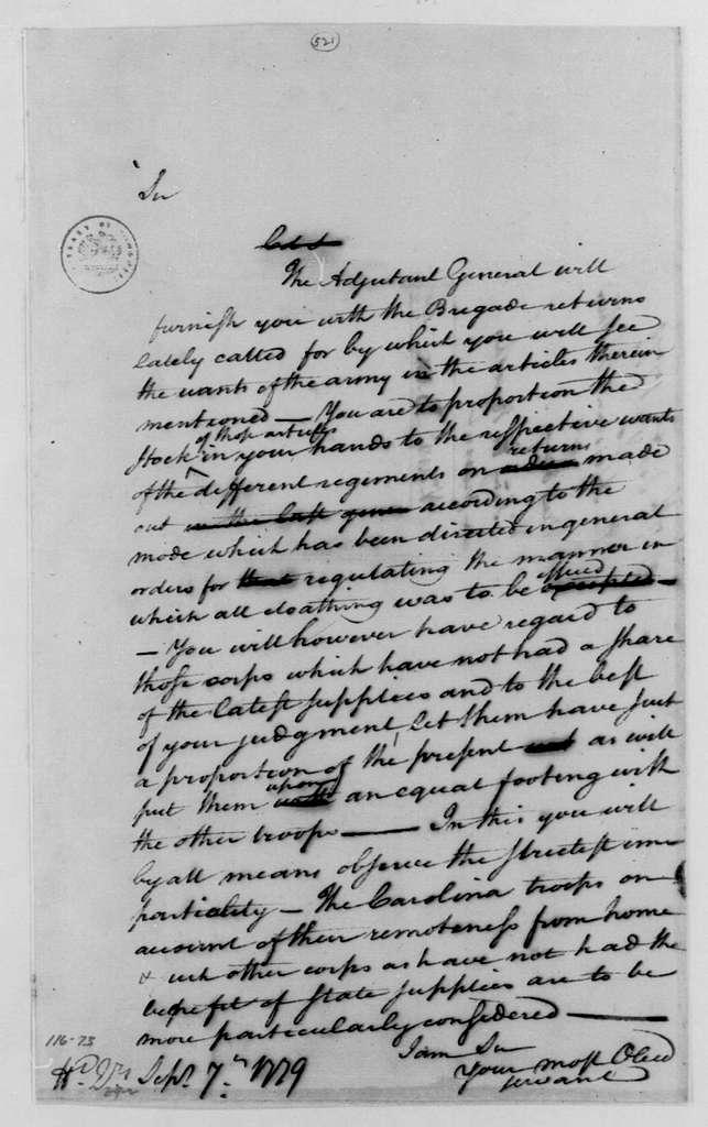 George Washington Papers, Series 4, General Correspondence: George Washington to David Brooks, September 7, 1779