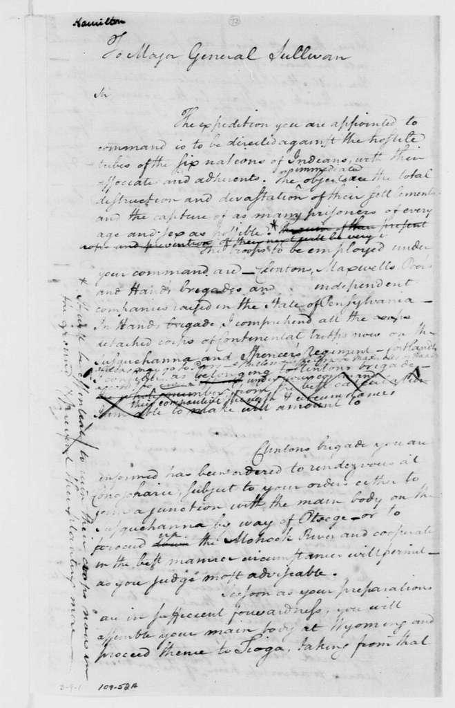 George Washington Papers, Series 4, General Correspondence: George Washington to John Sullivan, May 31, 1779, two same date
