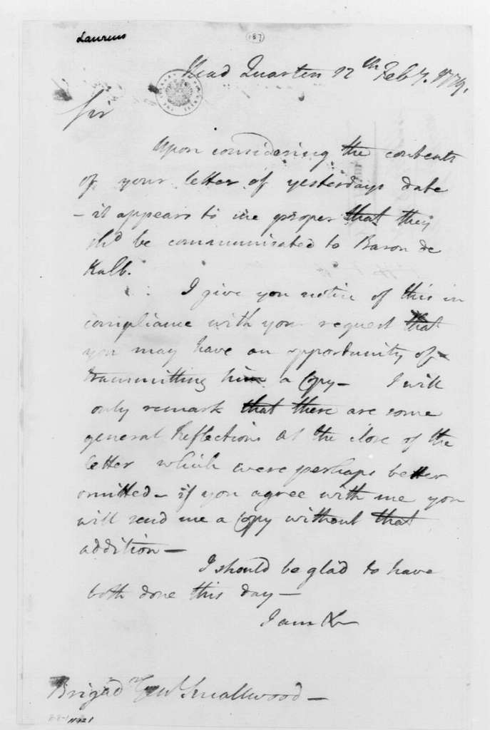 George Washington Papers, Series 4, General Correspondence: George Washington to William Smallwood, February 12, 1779