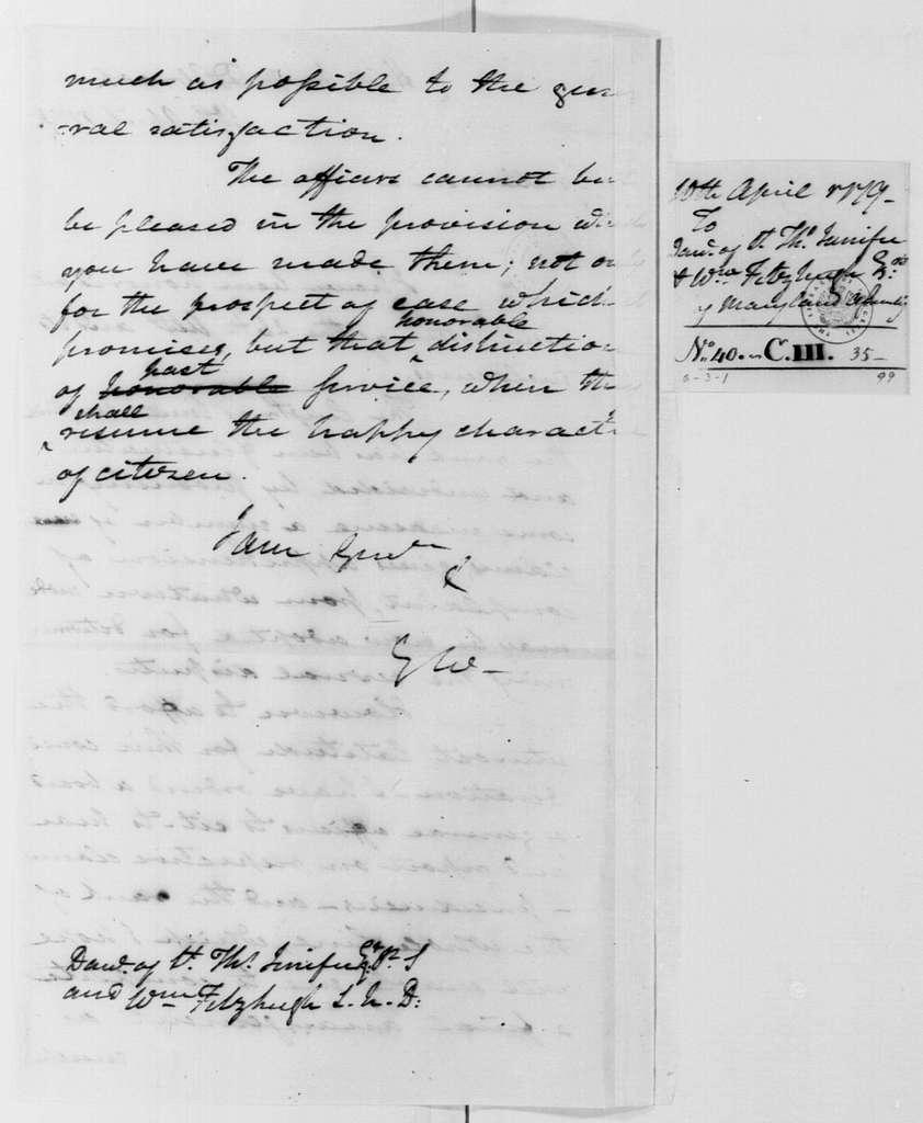 George Washington Papers, Series 4, General Correspondence: George Washington to Maryland Legislature, April 10, 1779