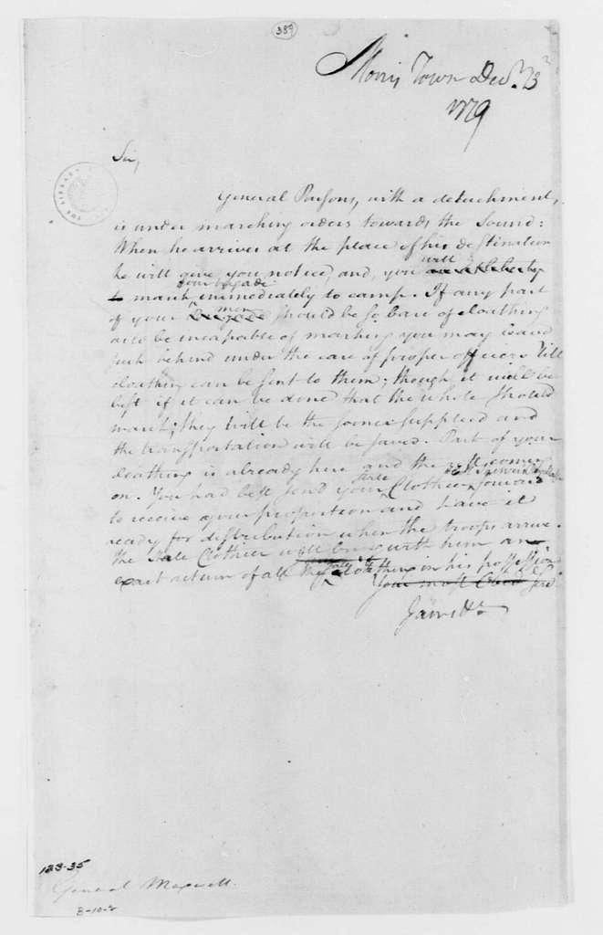 George Washington Papers, Series 4, General Correspondence: George Washington to William Maxwell, December 13, 1779