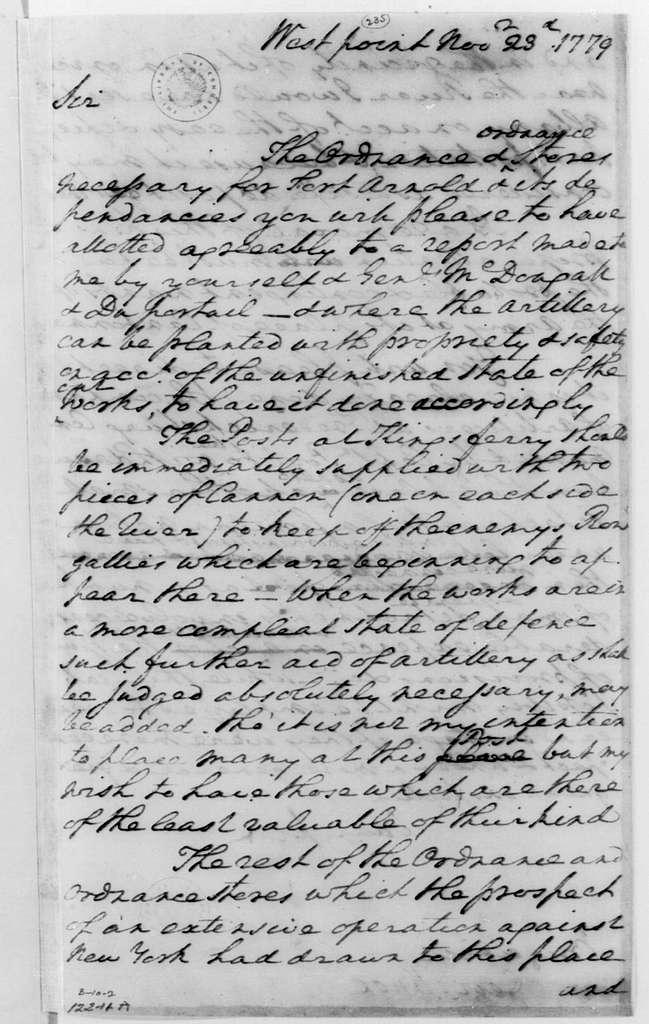 George Washington Papers, Series 4, General Correspondence: George Washington to Henry Knox, November 23, 1779