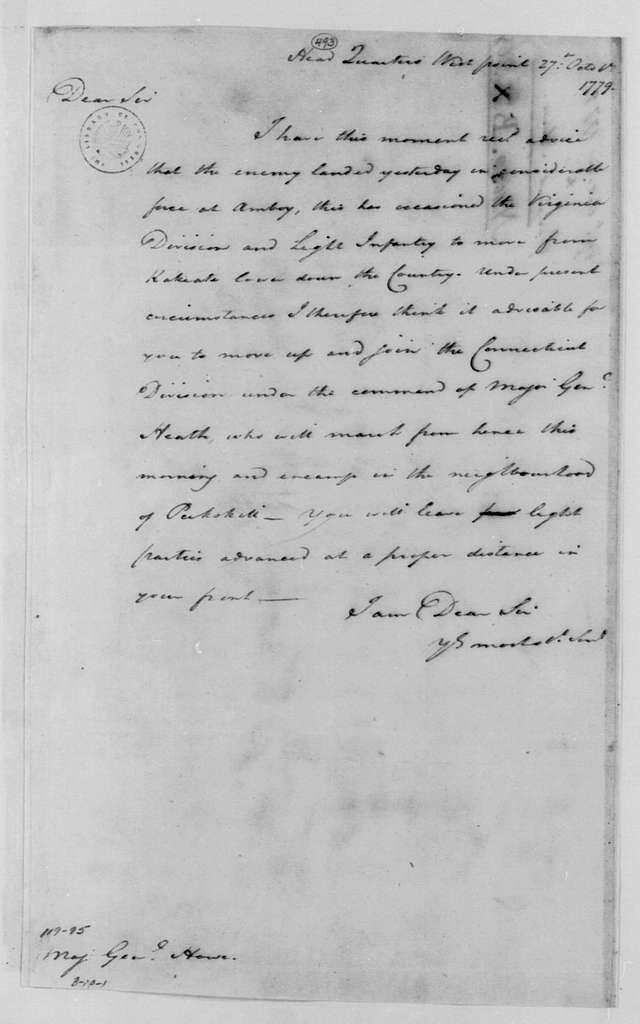 George Washington Papers, Series 4, General Correspondence: George Washington to Robert Howe, October 27, 1779