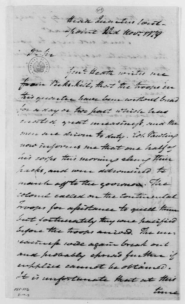 George Washington Papers, Series 4, General Correspondence: George Washington to Jeremiah Wadsworth, November 22, 1779