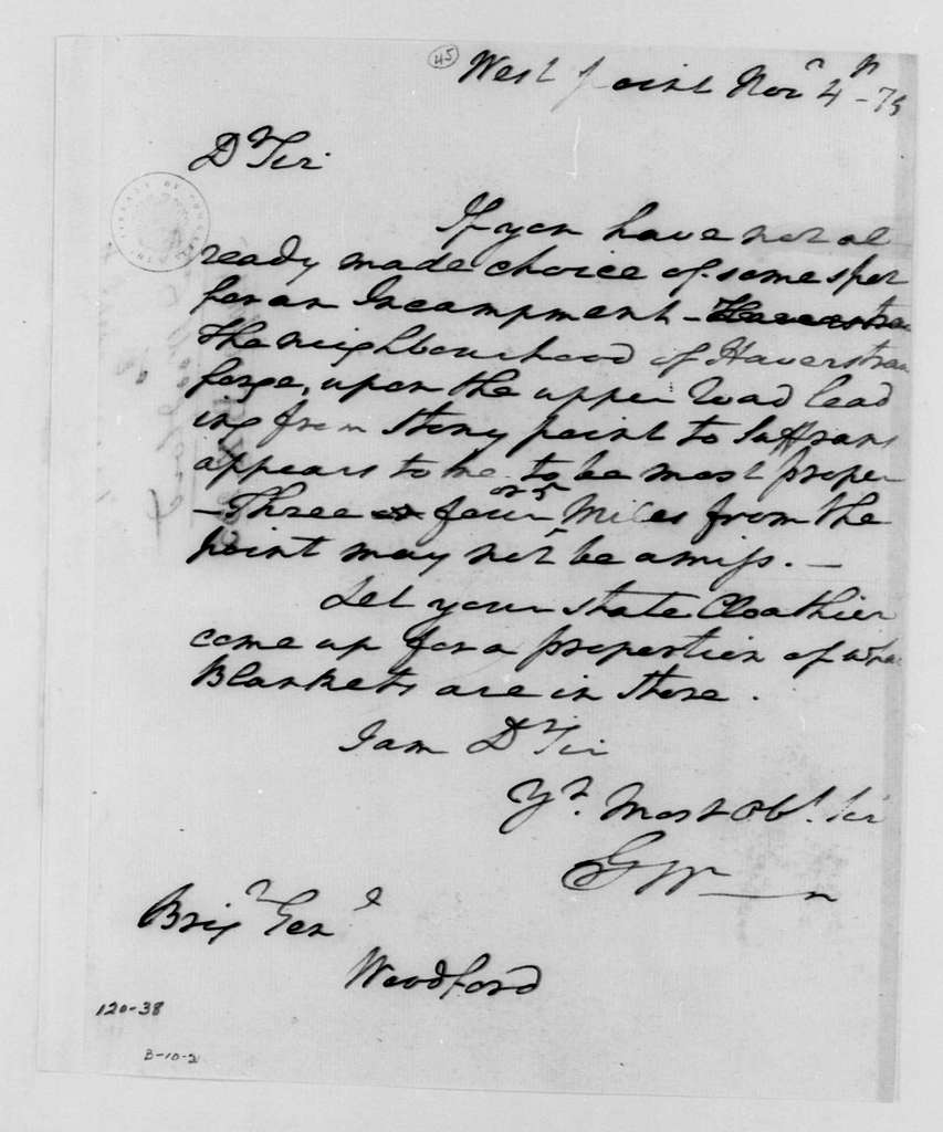 George Washington Papers, Series 4, General Correspondence: George Washington to William Woodford, November 4, 1779