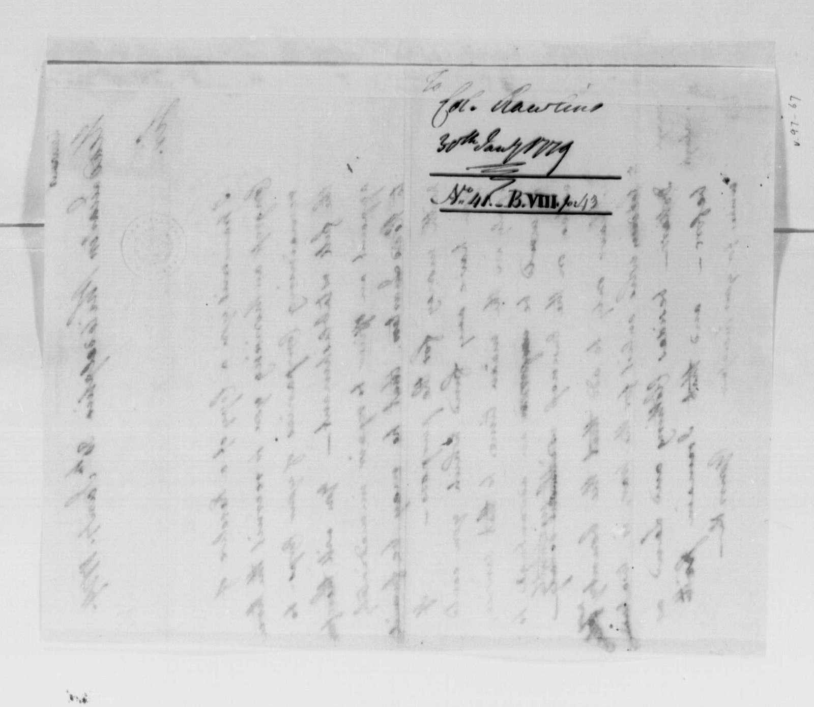 George Washington Papers, Series 4, General Correspondence: George Washington to Moses Rawlings, January 30, 1779