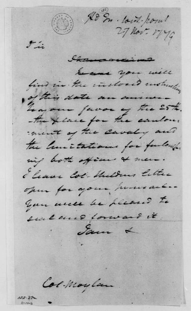 George Washington Papers, Series 4, General Correspondence: George Washington to Stephen Moylan, November 27, 1779, two same date