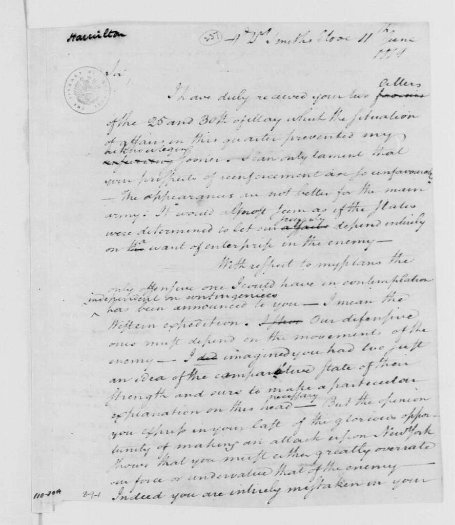 George Washington Papers, Series 4, General Correspondence: George Washington to Horatio Gates, June 11, 1779