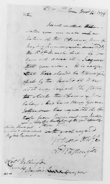 George Washington Papers, Series 4, General Correspondence: George Washington to William Washington, December 14, 1779