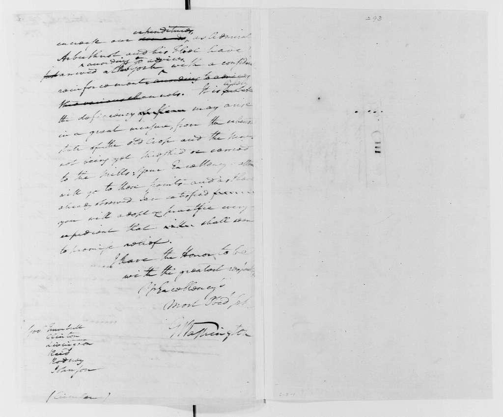 George Washington Papers, Series 4, General Correspondence: George Washington, August 28, 1779, Flour Shortage