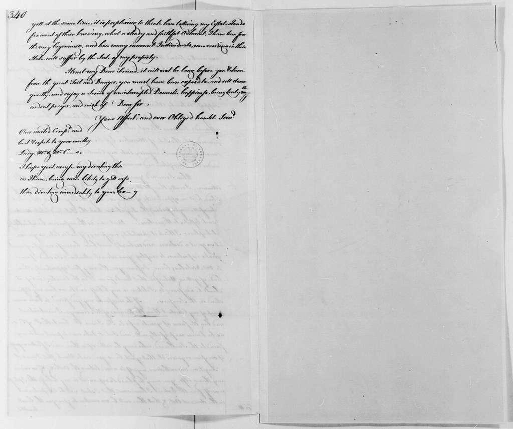 George Washington Papers, Series 4, General Correspondence: George William Fairfax to Lund Washington, December 5, 1779, With Copy
