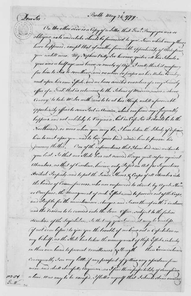 George Washington Papers, Series 4, General Correspondence: George William Fairfax to George Washington, May 25, 1779