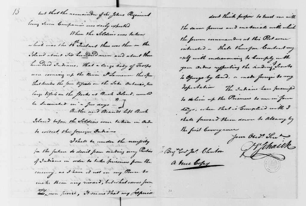 George Washington Papers, Series 4, General Correspondence: Goose van Schaick to James Clinton, May 22, 1779