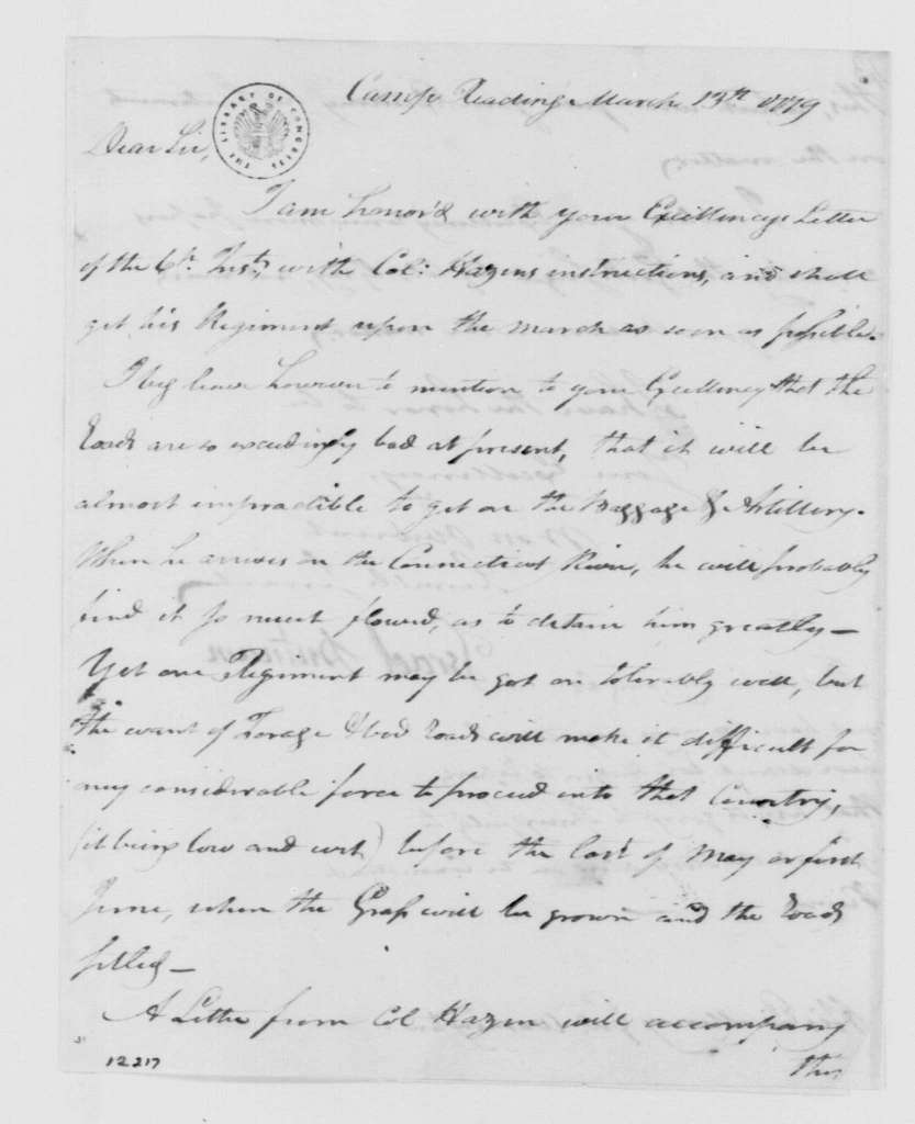 George Washington Papers, Series 4, General Correspondence: Israel Putnam to George Washington, March 13, 1779