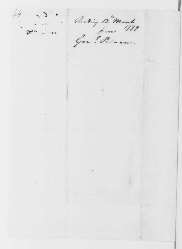 George Washington Papers, Series 4, General Correspondence: Israel Putnam to George Washington, March 13, 1779