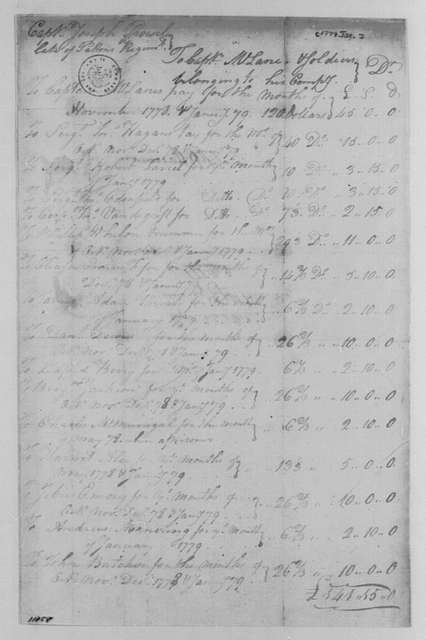 George Washington Papers, Series 4, General Correspondence: Joseph Prowell to Allen McLane, January 1779, Account from May 1778