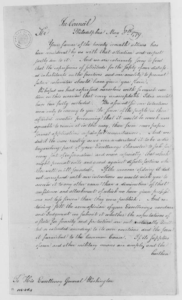 George Washington Papers, Series 4, General Correspondence: Joseph Reed to George Washington, May 8, 1779