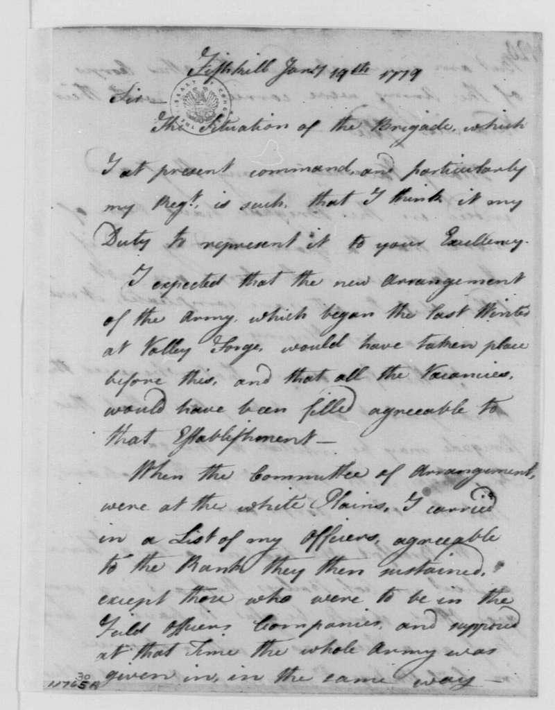 George Washington Papers, Series 4, General Correspondence: Michael Jackson to George Washington, January 19, 1779