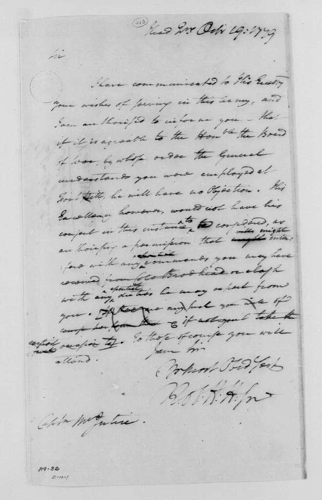 George Washington Papers, Series 4, General Correspondence: Robert H. Harrison to Thomas McIntire, October 19, 1779