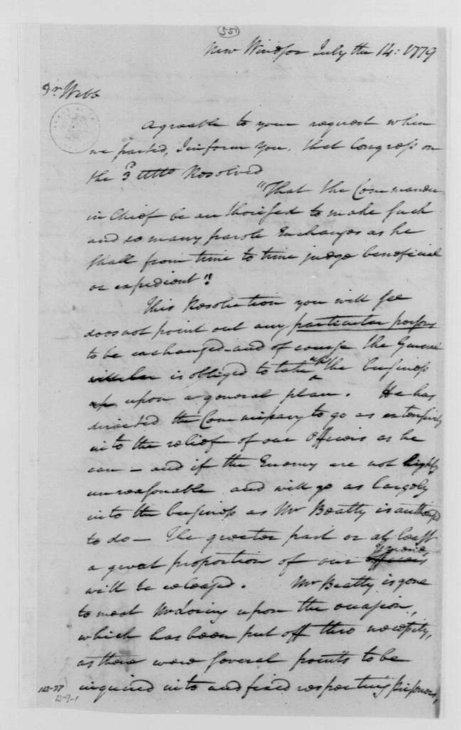 George Washington Papers, Series 4, General Correspondence: Robert H. Harrison to Samuel B. Webb, July 14, 1779