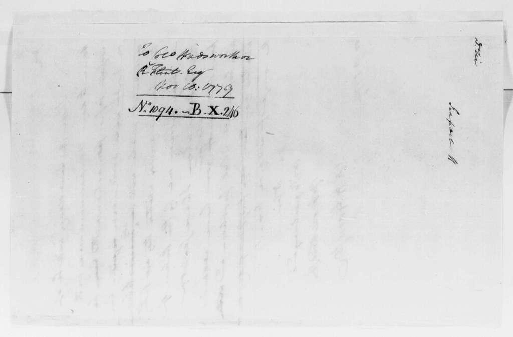 George Washington Papers, Series 4, General Correspondence: Robert H. Harrison to Jeremiah Wadsworth or Royal Flint, November 10, 1779