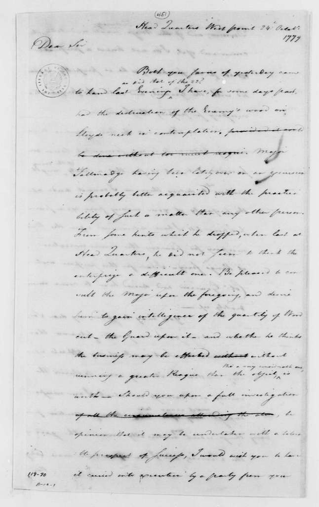 George Washington Papers, Series 4, General Correspondence: Robert Howe to George Washington, October 24, 1779