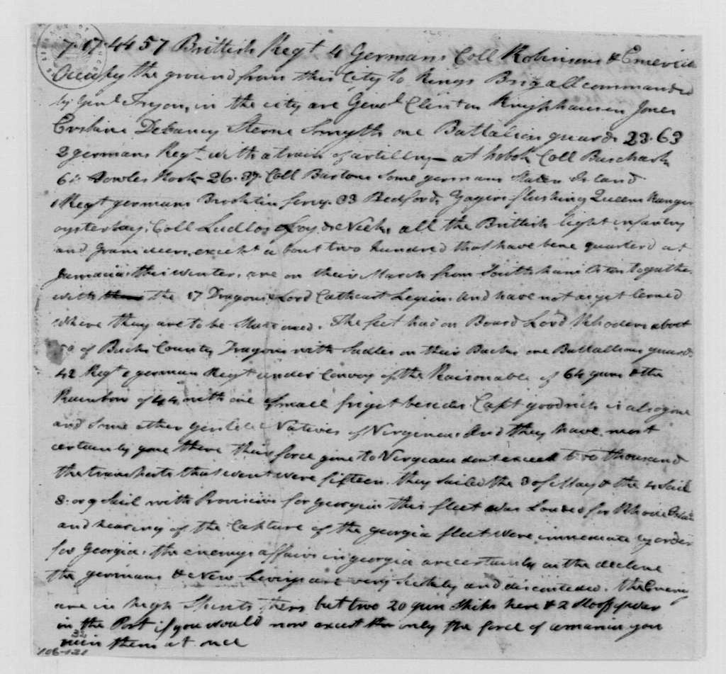 George Washington Papers, Series 4, General Correspondence: Samuel Culper to George Washington, May 12, 1779