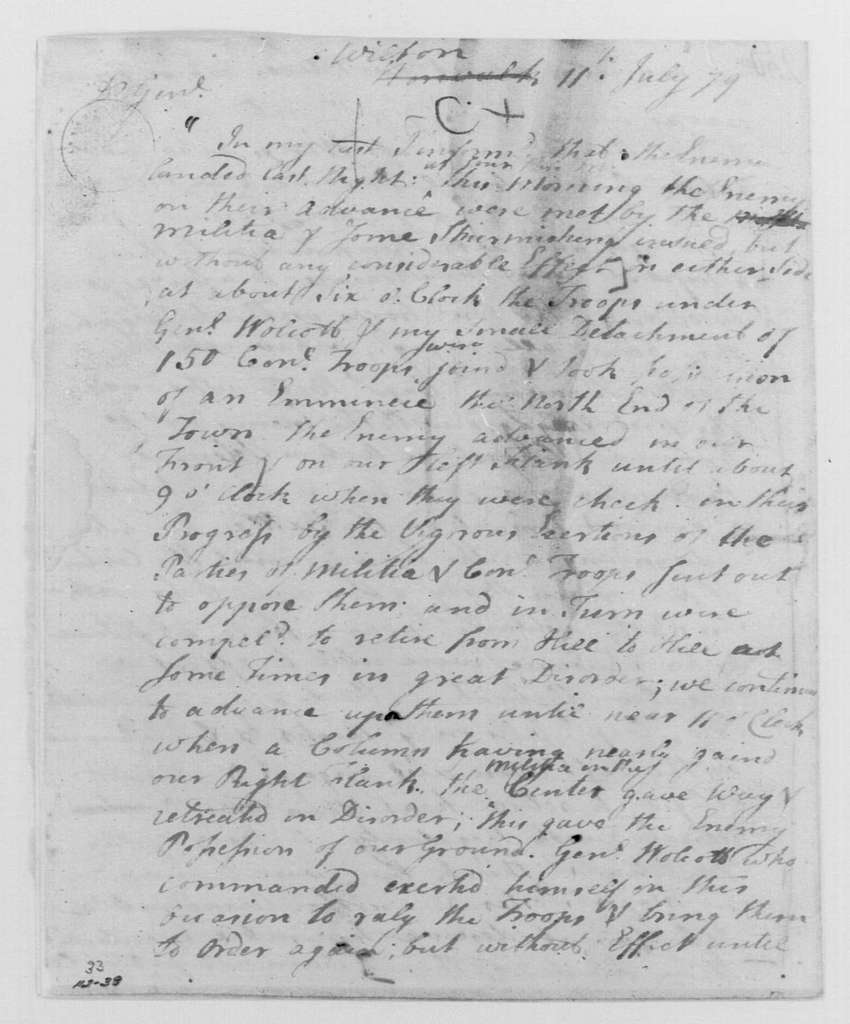 George Washington Papers, Series 4, General Correspondence: Samuel H. Parsons to George Washington, July 11, 1779