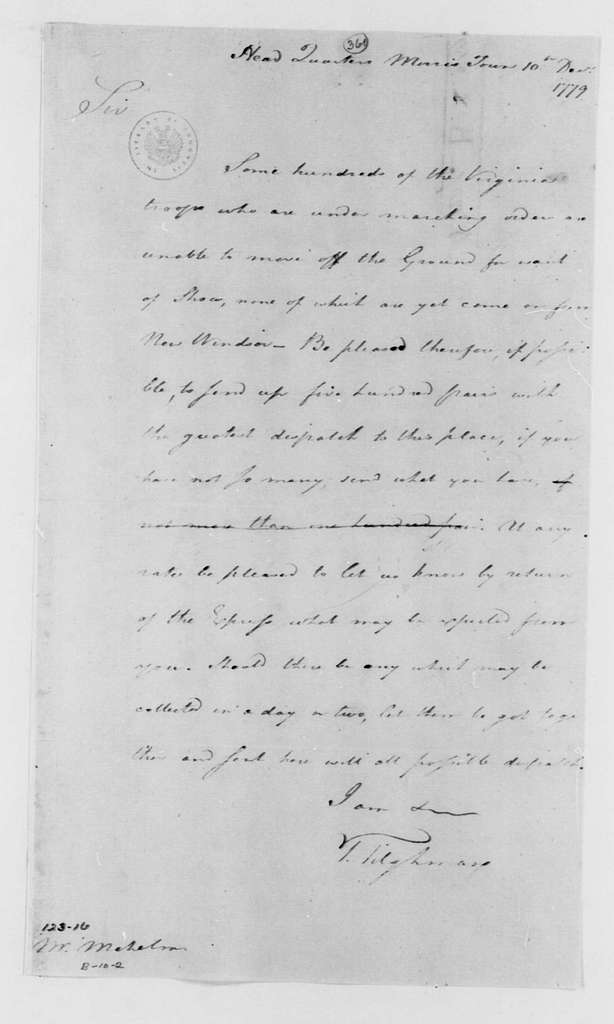 George Washington Papers, Series 4, General Correspondence: Tench Tilghman to John Mehelm, December 10, 1779