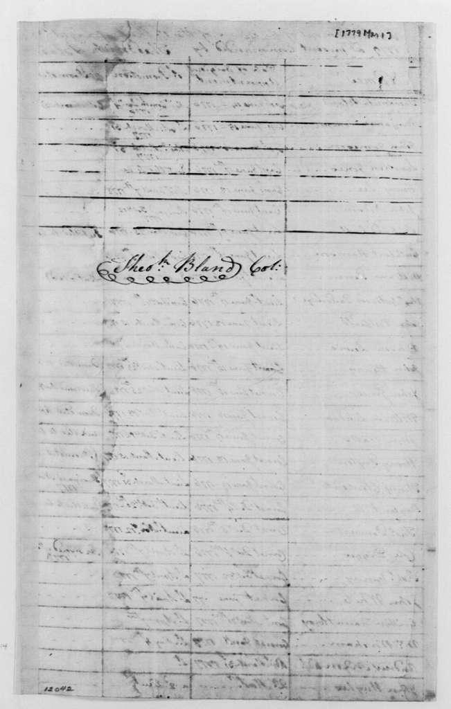 George Washington Papers, Series 4, General Correspondence: Theodorick Bland, March 1, 1779, Regiment Arrangement