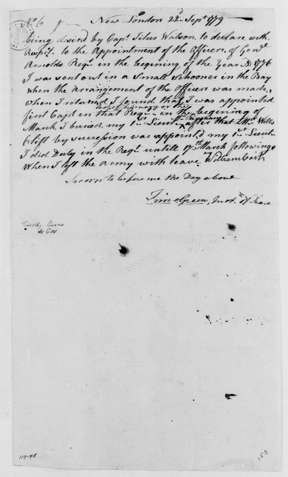 George Washington Papers, Series 4, General Correspondence: Timothy Green to George Washington, September 22, 1779, Certificate