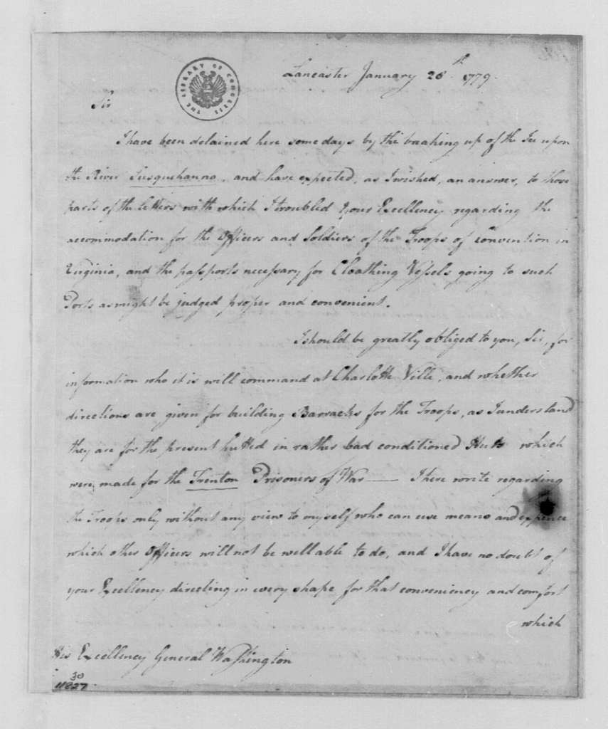 George Washington Papers, Series 4, General Correspondence: William Phillips to George Washington, January 28, 1779