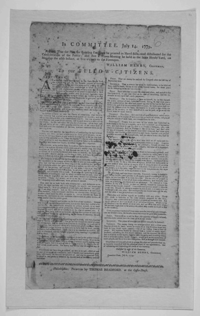 In Committee, July 14, 1779. Resolved, That the plan for stopping emissions be printed in hand-bills, and distributed for the consideration of the public, and that a town-meeting be held in the State House yard, on Monday the 26th inst, at ten o