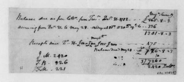 James Madison to Virginia Treasurer. Accounts, 1779-1782.