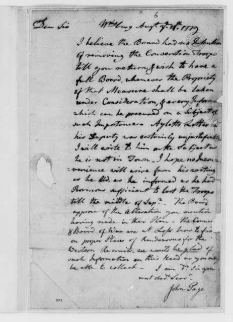 John Page to Thomas Jefferson, August 14, 1779