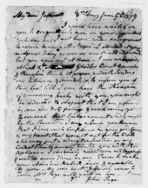 John Page to Thomas Jefferson, June 2, 1779, Letter of Apology and Support for Jefferson's Election as Governor of Virginia