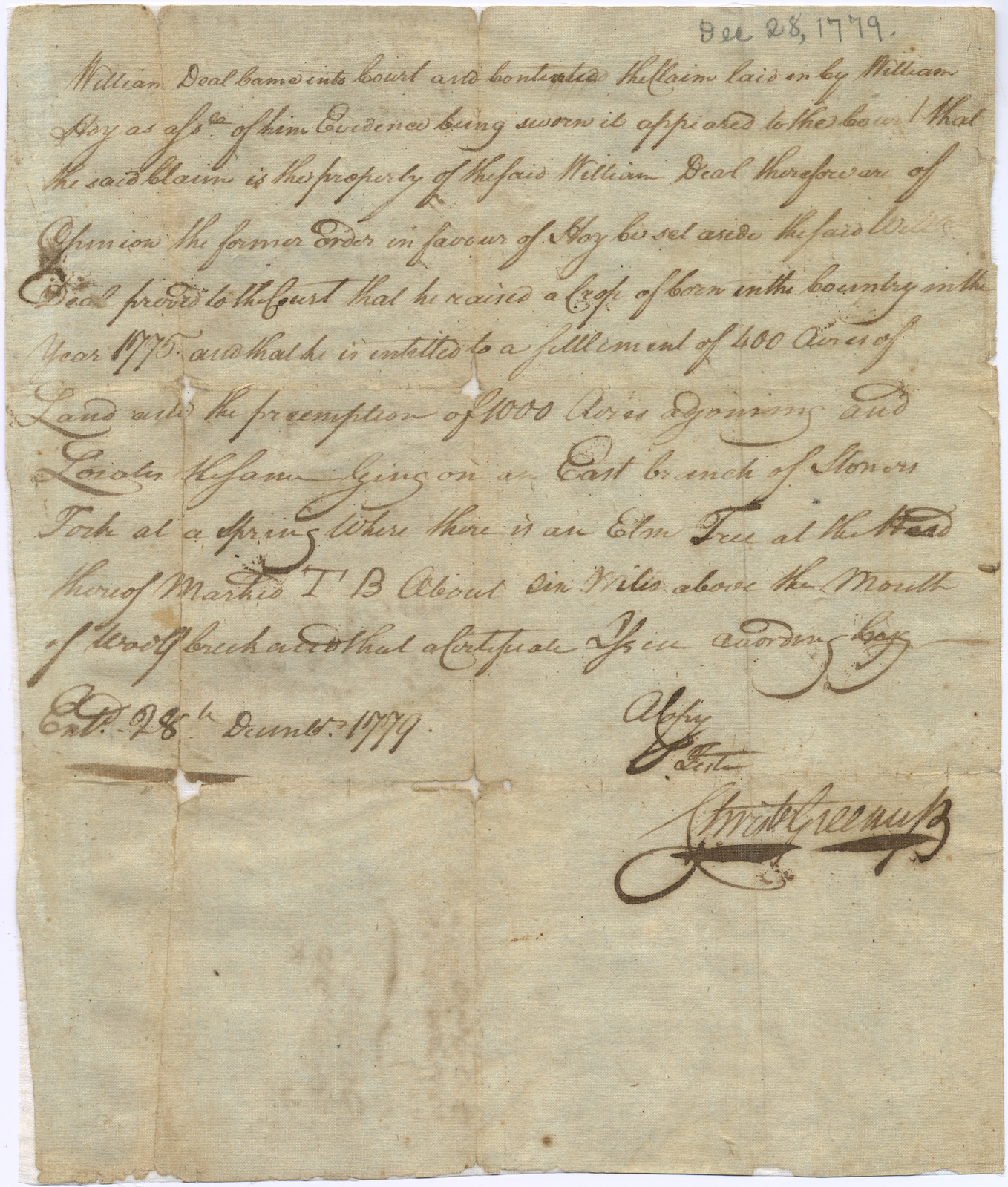 Land entry for William Deal with a court memorandum, [Kentucky County, Virginia]