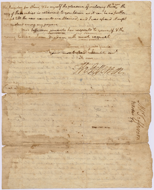 Letter from Thomas Jefferson to [Mary Willing Byrd]