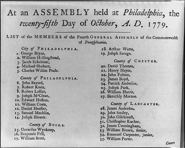 List of members of the Fourth General Assembly of the Commonwealth of Pennsylvania Philadelphia, the 25th day of October, A.D., 1779.