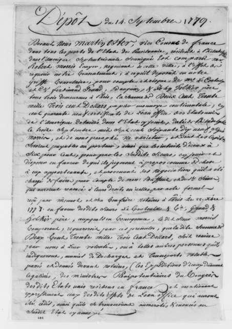 Martin Oster and Robert Morris, September 14, 1779, Deposit of Funds for French Consul; in French