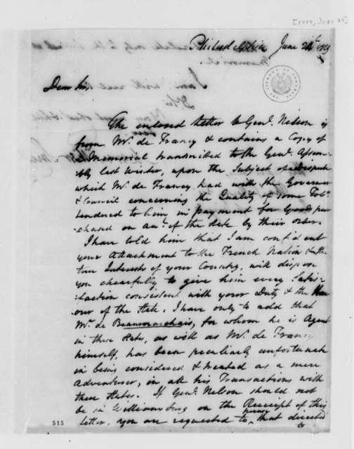 Meriwether Smith to Thomas Jefferson, June 24, 1779, J. B. L. T. de Francy's Dispute over Tobacco Shipments to Pierre Agustin Caron de Beaumarchais in France