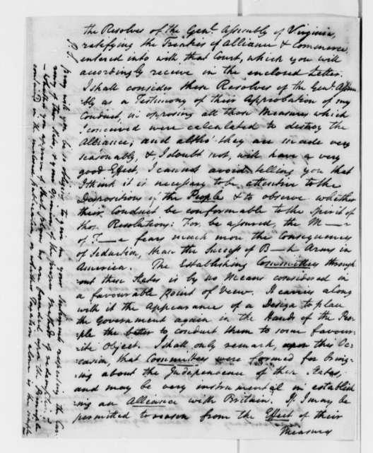 Meriwether Smith to Thomas Jefferson, June 25, 1779, Letter Introducing J. B. L. T. de Francy as Agent of Pierre Agustin Caron de Beaumarchais