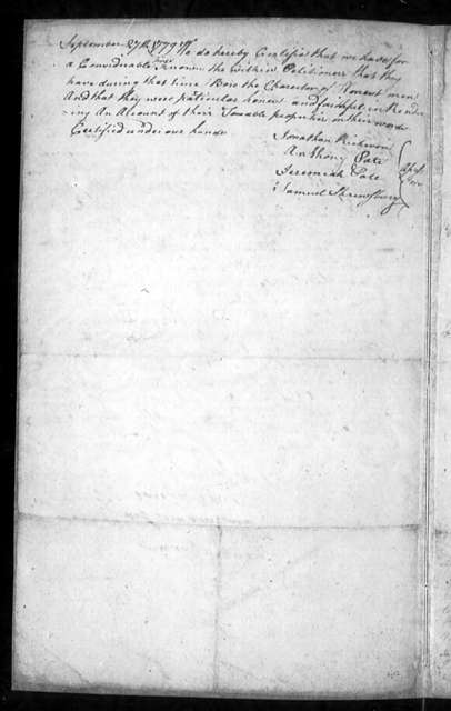 November 8, 1779, Bedford, Individuals objecting to giving oath on religious grounds, asking exemption from fine for same.