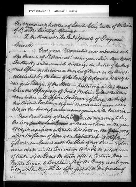 October 14, 1779, Albemarle, Charles Clay, Rector of St. Anne's Parish, asking restoration of his tenancy rights, and for back salary due him.