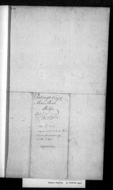 October 15, 1779, Halifax, Antrim Parish, for dissolution of vestry.