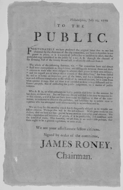 Philadelphia, July 23, 1779; To the public Fortunately we have preserved the original letter sent to our late chairman by the chairman of the city committee, and have it therefore in our power to prove, as it is a piece of justice due to ourselv