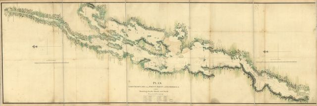 Plan, Lake Champlain from Fort St. John's to Ticonderoga, with the soundings, rocks, shoals, and sands, surveyed in the years 1778, 1779.