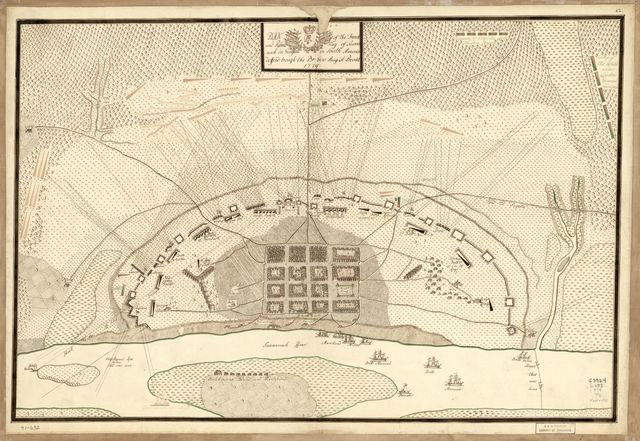 Plan of the French and rebells sieg[e] of Savannah in Georgia, in South [sic] America, deffend: t[h]rough the Br: Gen: August Prevost, 1779.