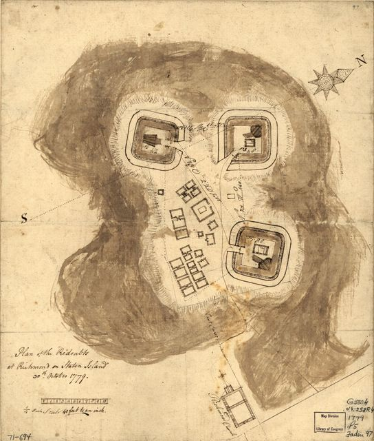 Plan of the redoubts at Richmond on Staten Island, 30th October 1779.