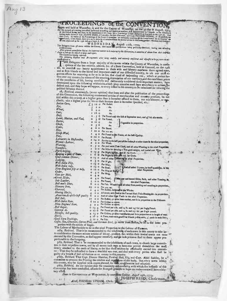 Proceedings of the convention, began and held at Worcester, in and for the County of Worcester, on the 3d day of August, 1779 for the purpose of carrying into effect the several interesting and important measures ... Done in Convention at Worces
